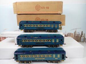 Vintage Prewar Lionel Standard Gauge Blue Comet Passenger Car Set 420 & 421 &422