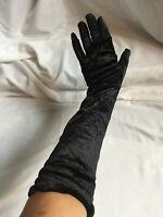 "VINTAGE STYLE Long Ellbow Black Velvet Evening Opera Gloves - 20.5"" Long"