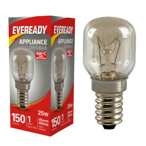 25w Eveready Oven Lamp / Cooker Light Bulb 240v SES E14 Small Edison 300 Degree