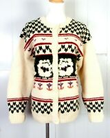 vtg 80s The Woolrich Woman 100% Wool Pixelated Cardigan Sweater Sheep Graphics M