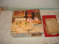Vintage Wood My Farm Animals Toy Building Blocks Set Jaymar 44 piece 1970s