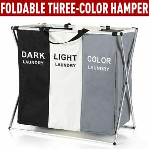 3 COMPARTMENT LAUNDRY CLOTHES WASHING STORAGE BIN BASKET HAMPER DARK LIGHT COLOR