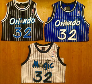 Shaquille Shaq O'Neal Orlando Magic #32 Men's Throwback Blue/Black/White Jersey