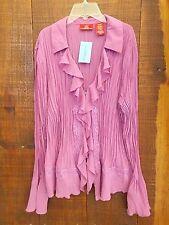 New Oscar De La Renta Woman's Plus Size 20W Blouse Lavender Crinkled Button-Down
