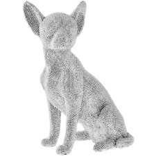 LEONARDO 24cm Silver Diamante Bling Art Sitting Chihuahua Sparkle Dog Ornament