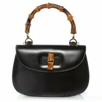 Authentic GUCCI Bamboo Top Handle Bag, Black leather, made in Italy