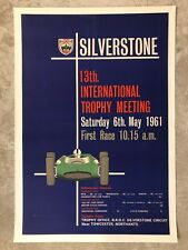 1961 Silverstone Race Advertising Sales Poster, Linen Mounted RARE! Awesome L@@K