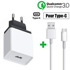 Chargeur Secteur USB Rapide+Câble Type-C Samsung A20e A21s A41 Redmi Note 9 Pro
