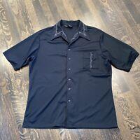 Vtg 60s 70s JOEL California Shirt Black POLYESTER Disco Rat Pack Mod MENS XL
