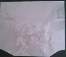 Iron-On Rhinestone Motif Transfer Hot Fix Clear - White flower design neckline