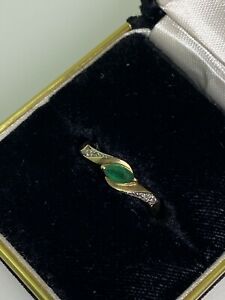 0.25ct Marquise Emerald & Diamond Ring in 9K Yellow Gold. Circa 1970's.