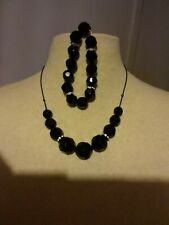 Dorothy Perkins Black Multi Faceted Bead Diamante Necklace & Bracelet Set Gift