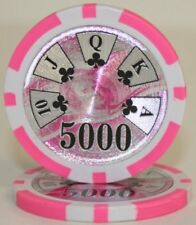 25 Pink $5000 Ben Franklin 14g Clay Poker Chips New - Buy 2, Get 1 Free