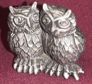 Hudson Pewter Noahs Ark Pair of Owls 1982 #2522 Vintage Collectible