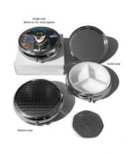 Pill Box Round Chrome Plated, Three compartments, Personalised Gift