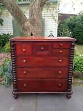 Antique Victorian 'Tall Boy' Chest of 7 Drawers w Cotton Reel Columns!