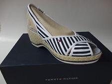 w.Neu Tommy-Hilfiger-Sandalen-Sandalette Wedges Schuhe Gr.38 weiß/blau zu Kleid