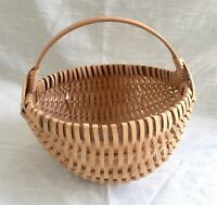 Vintage Hand Woven Bent Wood Handle Oak Splint Egg Basket, Signed KR 1983