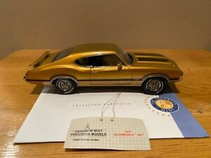 1970 Olds 442 Gold with Black stripes by FranklinMint, used, 1/24 scale