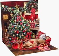 Holiday Room 3D Pop-Up Christmas Card Dog Cat Tree Holiday Card Up With Paper