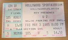 1985 U2 CONCERT TICKET STUB HOLLYWOOD FLA. THE UNFORGETTABLE FIRE TOUR BONO EDGE