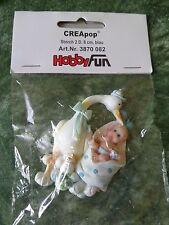 """Creapop-Geburt-Taufe- 2D-Figur """" Storch mit Baby-Boy"""""""