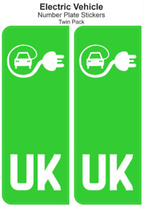 UK Electric Vehicle Number Plate Stickers EV Green Pair Self Adhesive Vinyl x2