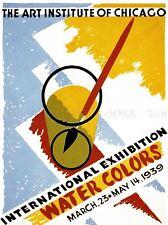 ADVERT 1939 INTERNATIONAL EXHIBITION WATER COLORS ART INSTITUTE PRINT LV443