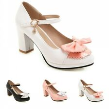 New Fashion Women's Wedding Bridal Round Toe Mary Janes Bowknot Shoes 44/48 D