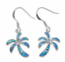 INLAY BLUE OPAL HAWAIIAN PALM TREE WIRE HOOK EARRINGS SOLID 925 STERLING SILVER