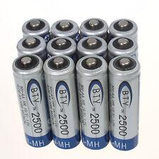 Hohe Qualität 12 Stück BTY NI-MH AA 2500mAh 1.2V WIEDERAUFLADBAR 2A Batterie für