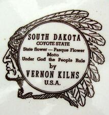 Vintage Sepia Brown SOUTH DAKOTA Collectors Plate Vernon Kilns Calif Pottery