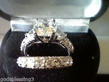 PLATINUM & SS 3.25CTW LCS* ROUND DIAMOND WEDDING ENGAGEMENT RING SET SIZE 4