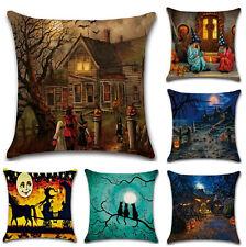 Witch Castle Linen Throw Pillow Case Waist Cushion Cover Halloween Sofa Decor ZY