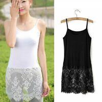 Women Camisole Lace Tops Extender Trim Long Soft Dress Cotton Black White Floral