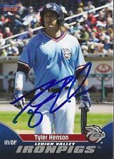 Tyler Henson 2015 Lehigh Valley Ironpigs Signed Card