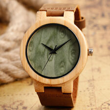 Casual Nature Wood Genuine Leather Strap Bamboo Pattern Men Women Wrist Watch