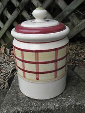 HARTSTONE POTTERY STONEWARE LG 5 LB CANISTER COOKIE JAR CHRISTMAS SCARLET PLAID