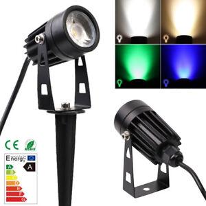 Multi-Color LED Garden Spike Lights Mains Powered IP65 Waterproof COB Spotlights