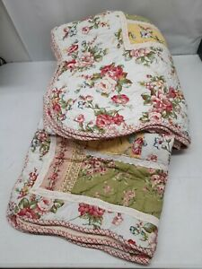"""Vtg JC Penney Home Collection pastel floral Roses Twin quilt& Sham 88"""" x 68"""""""