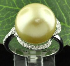 18k Solid White Gold Natural Golden South Sea Pearl Diamond Ring 13.5mm Cocktail