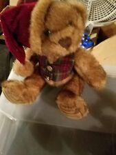 "Christmas Teddy Bear w/ Vest Brown Stuffed Animal Plush Toy, Schmidt Cannon, 10"""