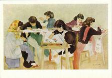1960 Russian VIETNAM ART postcard EMBROIDERERS by Chan Dong Lyong