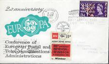 AVIATION : 1961 EUROPA CEPT envelope  -BEA 11d Air Letter Stamp -WINDSOR slogan
