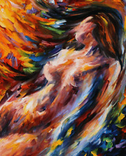 """Nude Abstract Oil Style Wall Art Canvas Print 22"""" X 16"""" solid frame"""