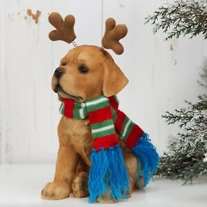 "Yellow Labrador Reindeer Antlers Christmas 8"" Resin Dog Figurine Decoration Gift"