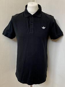 NEW! ADIDAS Originals Mens Black Embroidered Trefoil Pique Polo Shirt Size L