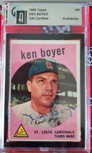1959 Topps St. Louis Cardinals Ken Boyer Signed Autographed Card #325 GAI Cert