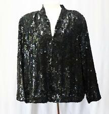Vintage Black Sequin Silk Bomber Jacket Coat sz 2X