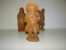 Belle Statuette en bois sculptée Homme buvant et fumant la pipe 1